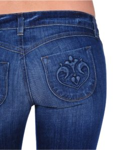 jeans with curved yoke and curved, mid-size pockets