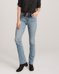 bootcut light wash jeans with darker top