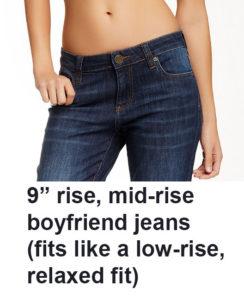 rise on jeans, low rise ffit, mid-rise boyfriend jeans