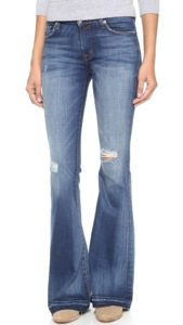 jeans with flared leg below the knee for a rectangle shaped body