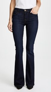 flared jeans fitted through the thigh