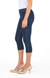 high rise, slim fit capri blue jeans