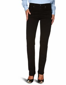 high rise straight leg-jeans with a lighter top