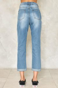 high waist cropped jeans with fading on the seat