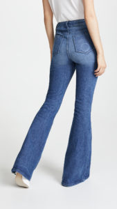 high waist flare jeans with fading on the seat