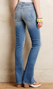 jeans with high contrast fading