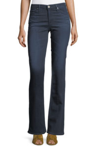 light top with tucked in hem, mid rise jeans