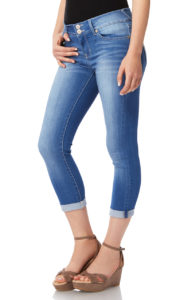 slim fit cropped jeans with wedges