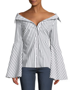 striped top with bell sleeves
