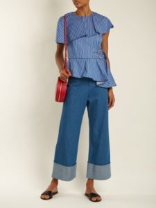 wide-leg, deep-cuff blue jeans