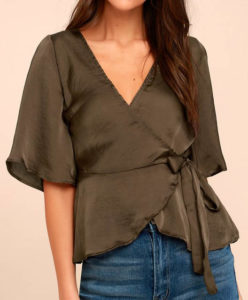 Top for an apple shaped body, wrap top