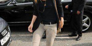 Kate Moss in Balmain khaki color skinny jeans