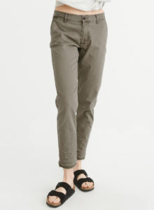 low rise olive green chino pants