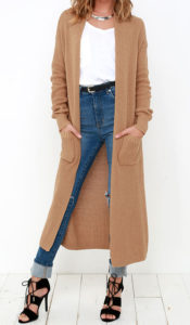 long tan cardigan to wear with black jeans outfit