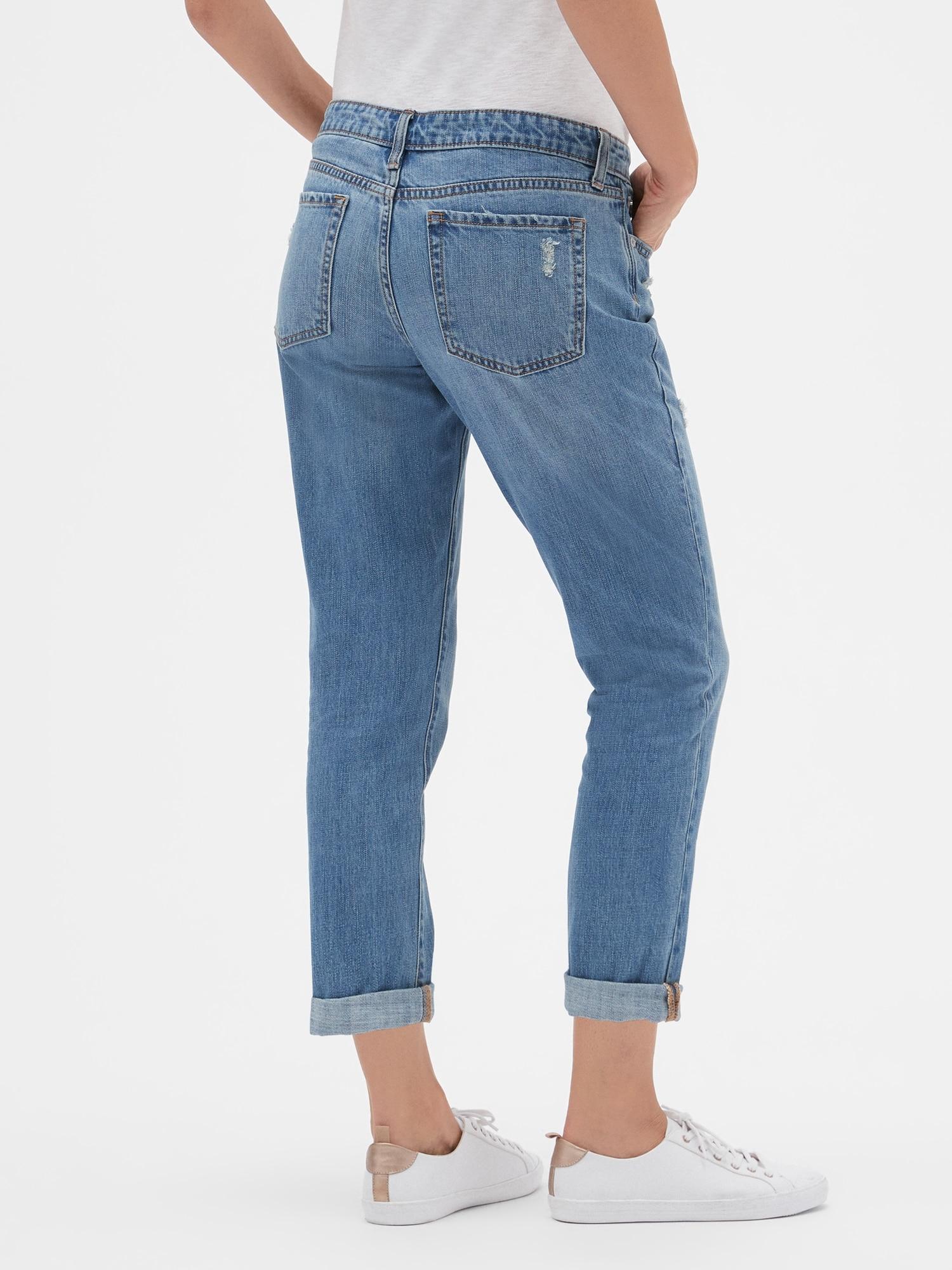 Girlfriend jeans vs boyfriend jeans, boyfriend jeans fit, baxk
