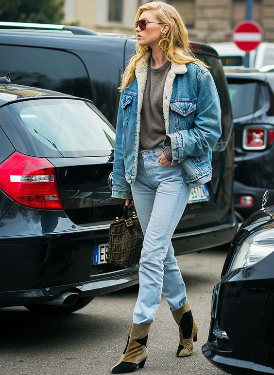 Elsa Hosk in double denim outfit. Denim jacket and jeans