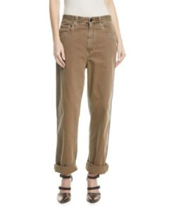 Cropped Garment Dyed Brown Jeans