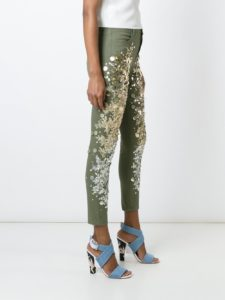 Sequin Embellished Green Jeans