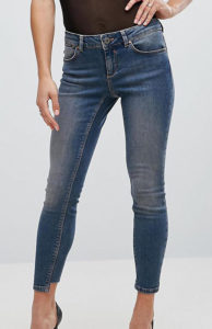 Skinny Low Rise Jeans in Tinted Mid Wash