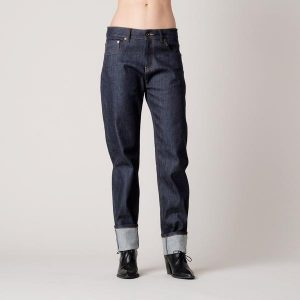 women's raw denim boyfriend jeans