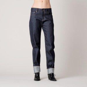 women's raw denim boyfriend jeans
