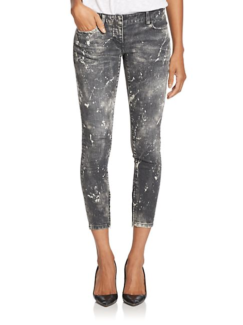 Cropped Skinny Jeans with bleach splatter