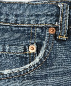 abraded pocket on jeans