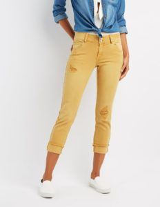 Cropped Boyfriend Jeans in Mustard