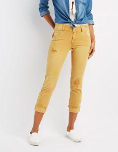 Cropped Boyfriend Jeans in Mustard