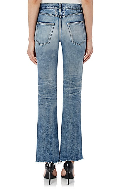 Cropped Flared Jeans with whiskering and honeycombs-back