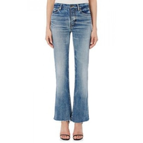 Cropped Flared Jeans with whiskering and honeycombs-front