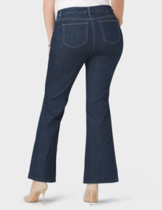 Dark wash jeans with plain, mid-size pockets