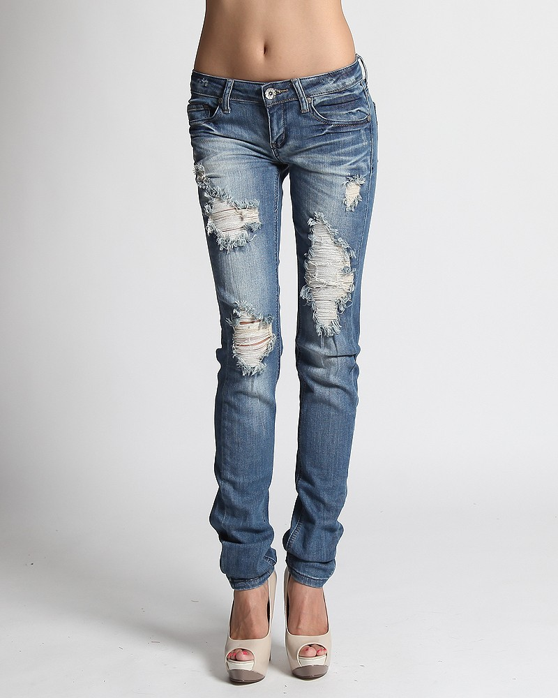 Destroyed Denim Low-Rise Skinny Jeans