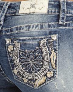 embellished pocket jeans detail