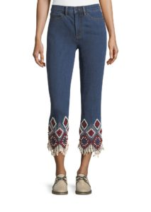 Embroidered Cuff Cropped Jeans