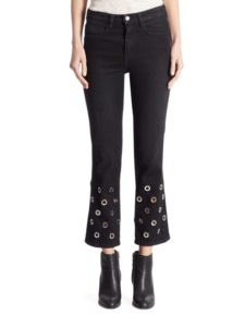 Grommet Embellished Cropped Flared Jeans