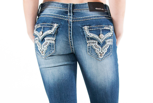jeans with embellished flap pockets