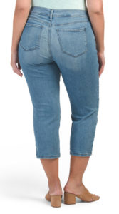 Lighter wash cropped jeans with fading