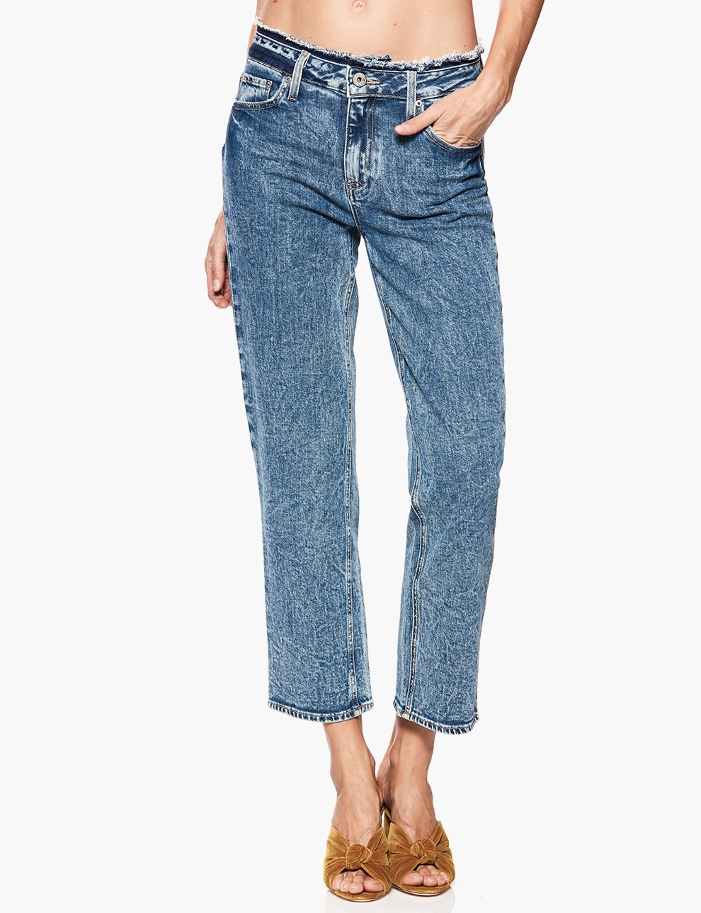 Mineral Wash Cropped Jeans
