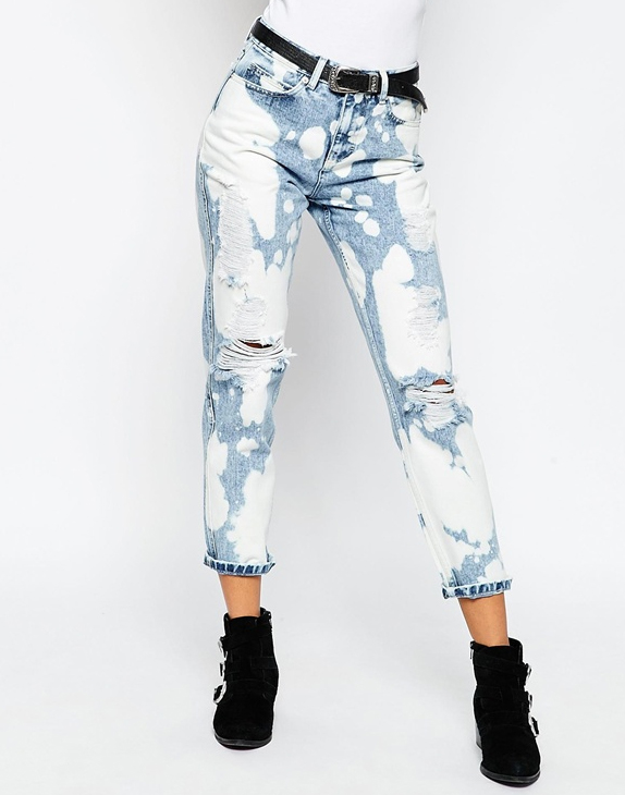 Mom Jeans with bleach splatter and rips
