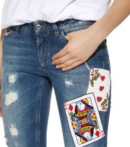 Sequin Card Distressed Skinny Jeans Detail