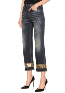 Sequin Embellished Wide Leg Jeans