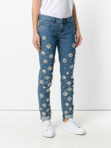 Straight Fit Crystals and Faux Pearl Embellished Jeans