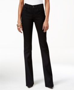 Boot cut jeans cover same color high heel shoes