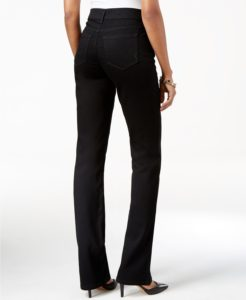 Boot cut jeans cover same color heels back view