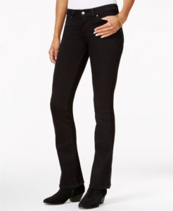 Dark bootcut style jeans with same color boots