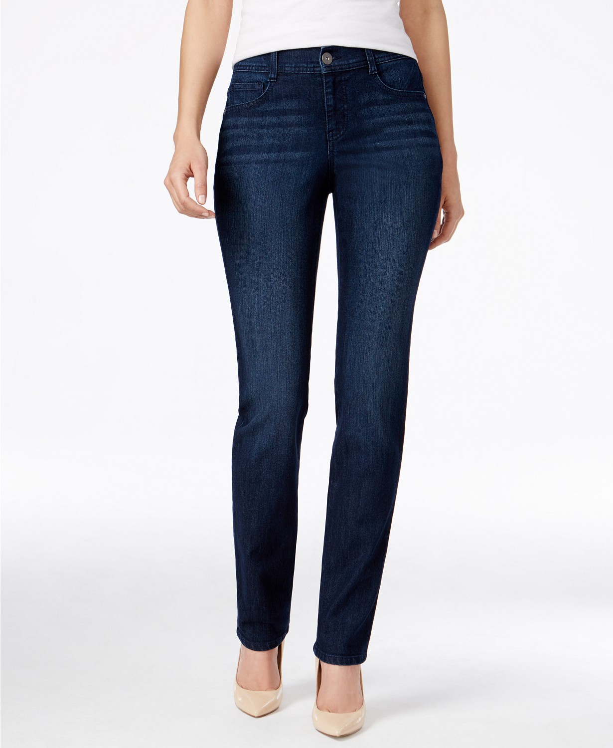 High rise jeans with nude heels