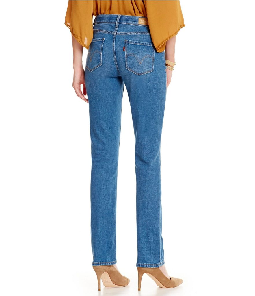Levis 525 Perfect Waistband Jeans,  back view. Best jeans for straight figure