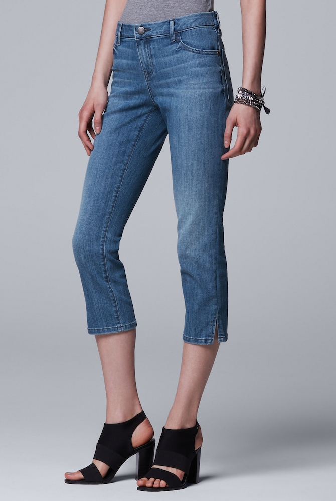womens jean styles, Vera Wang, Simply Vera Side Slit Capri Jeans