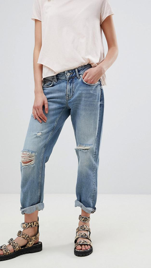 slouchy fit distressed boyfriend jeans